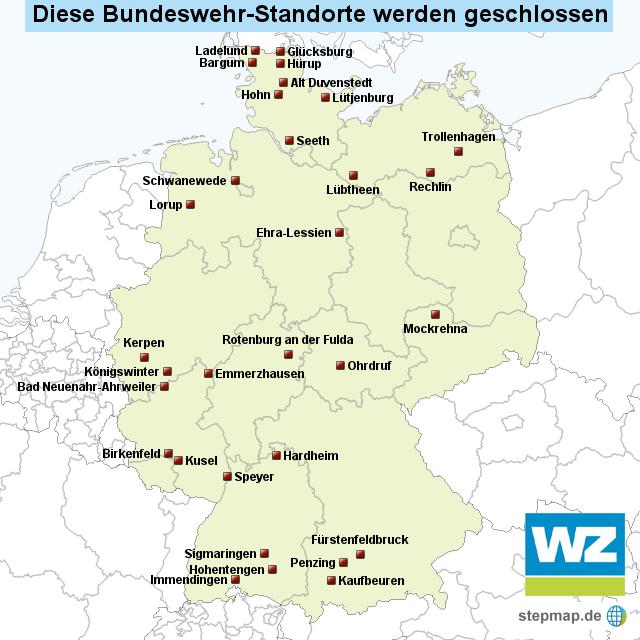 schlie ung bundeswehr standorte von wznewsline landkarte f r deutschland. Black Bedroom Furniture Sets. Home Design Ideas