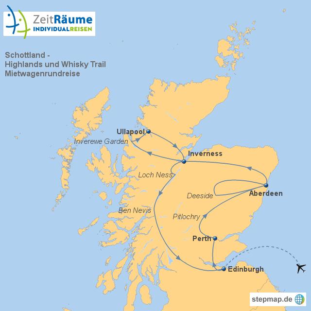Schottland Karte Highlands.Stepmap Schottland Highlands Und Whiskytrail Landkarte Für