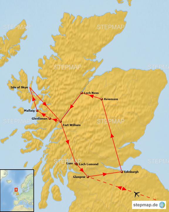 Schottland Karte Highlands.Stepmap Schottland Rundreise Durch Die Highlands Landkarte Für