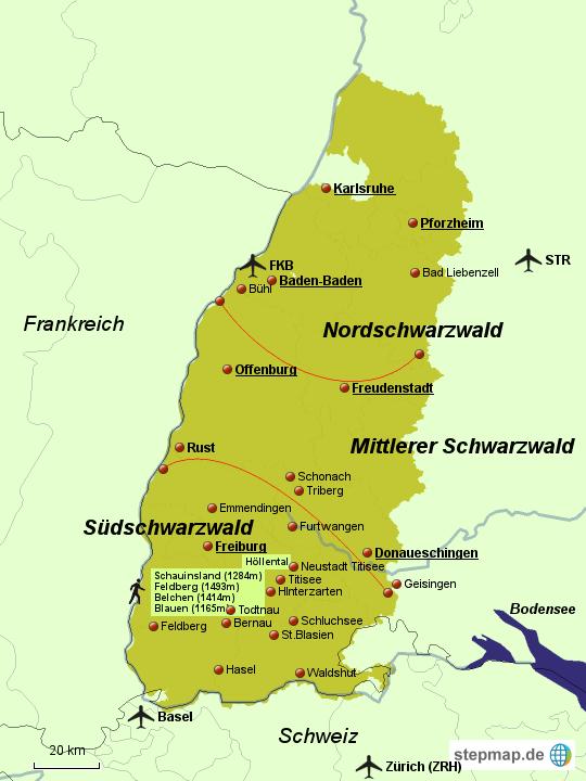 Nordschwarzwald Karte.Stepmap Schwarzwald Landkarte Für Deutschland