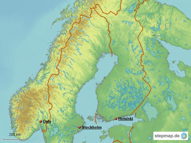 Karte Norwegen Schweden.Stepmap Schweden Finnland Norwegen Landkarte Fur Europa