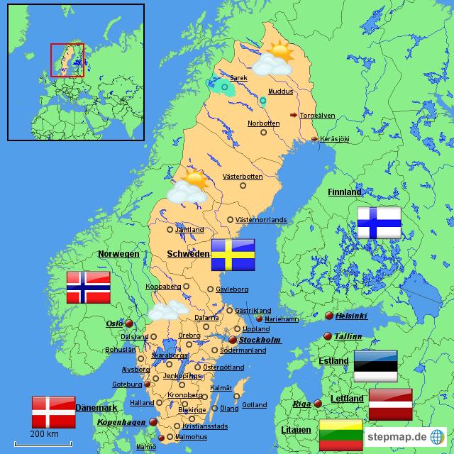karte schweden StepMap   Schweden Karte   Landkarte für Schweden