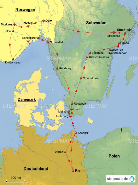 Karte Schweden Dänemark Deutschland.Stepmap Schweden Norwegen Landkarte Für Deutschland