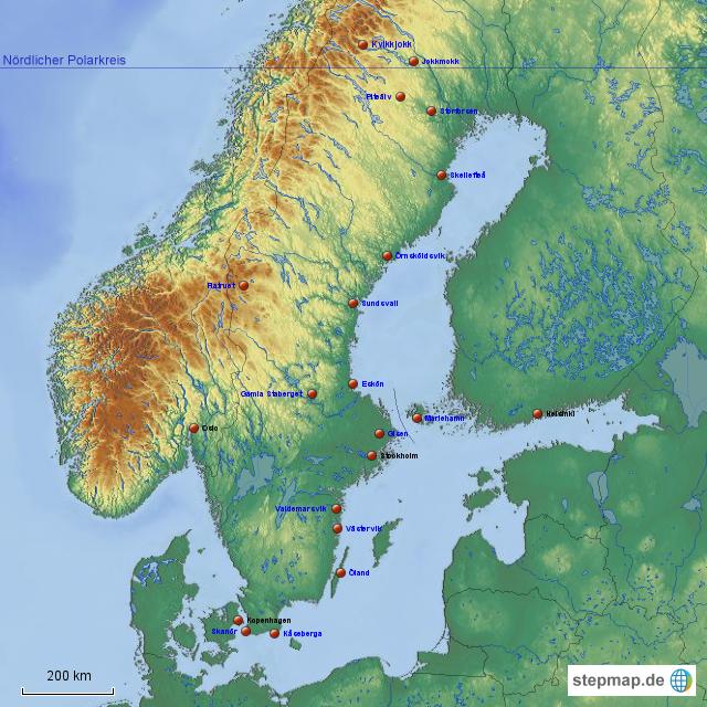 polarkreis karte StepMap   Schweden bis Polarkreis   Landkarte für Europa polarkreis karte