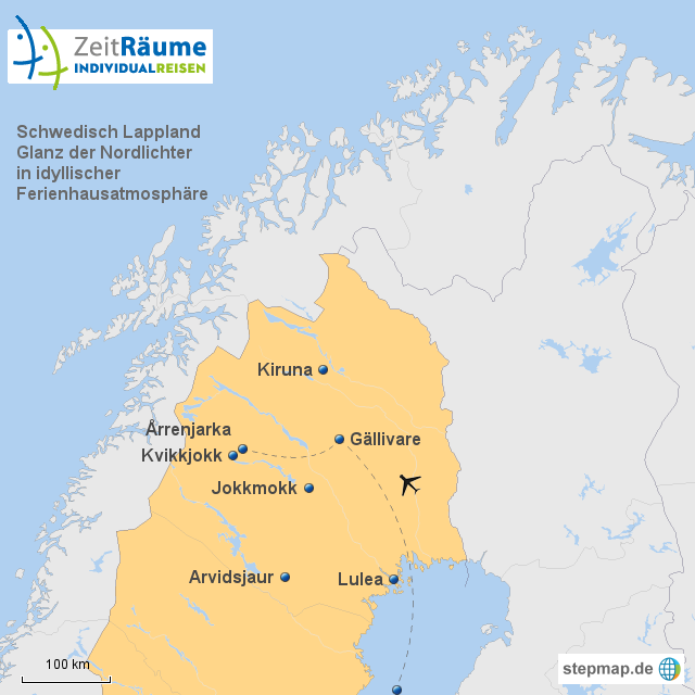 schwedisch lappland rrenjarka fj llby mit logo von zeitraeume landkarte f r schweden. Black Bedroom Furniture Sets. Home Design Ideas
