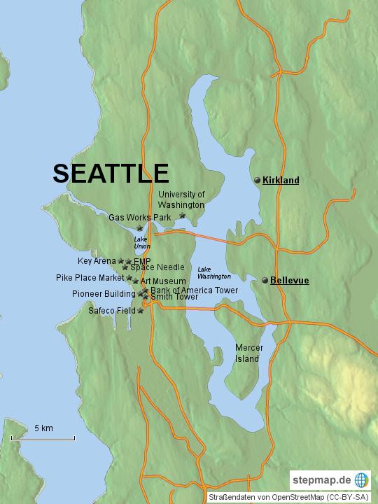 seattle karte StepMap   Seattle   Landkarte für USA