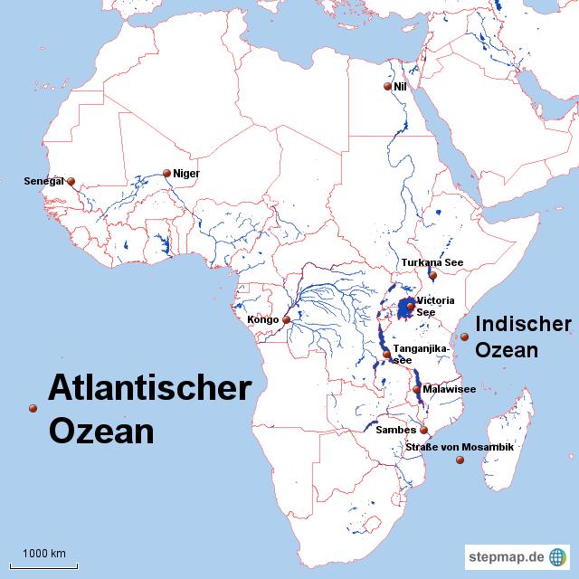 afrika karte flüsse StepMap   Seen,Flüsse,.. Afrika´s   Landkarte für Afrika afrika karte flüsse