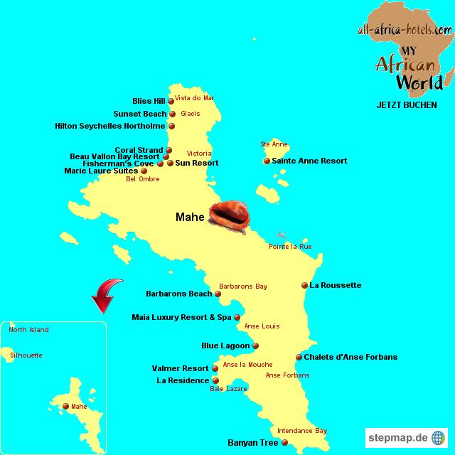 Seychellen Karte Afrika.Stepmap Seychellen Hotels Mahe Landkarte Für Afrika