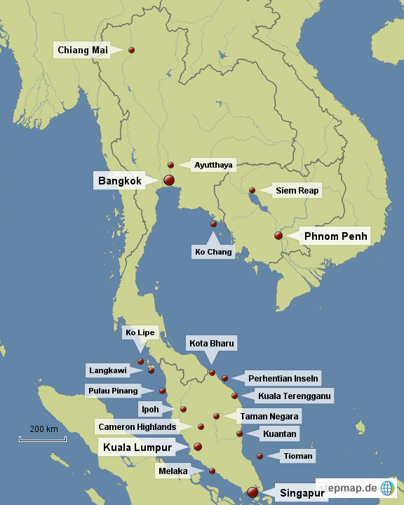 Karte Thailand Kambodscha.Stepmap Singapur Malaysia Thailand Kambodscha Landkarte Für Asien