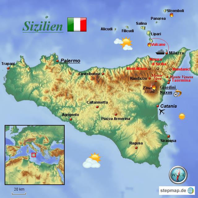 landkarte sizilien StepMap   Sizilien   Landkarte für Italien landkarte sizilien