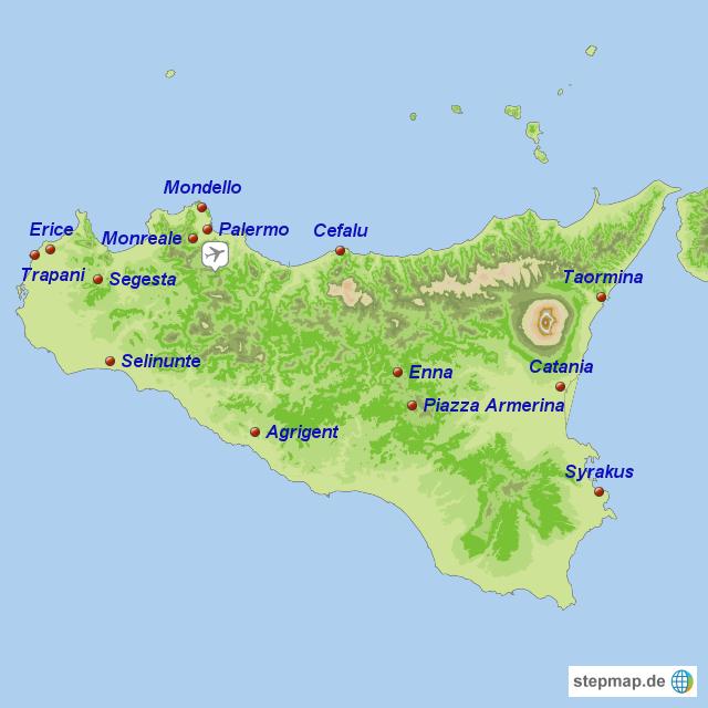 landkarte sizilien StepMap   Sizilien Rundreise   Landkarte für Italien landkarte sizilien