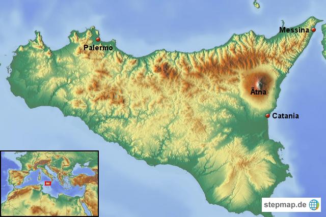 Stepmap Sizilien Mit Atna Landkarte Fur Italien