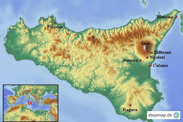 Sizilien Karte ätna.Stepmap Sizilien Mit ätna Landkarte Für Italien
