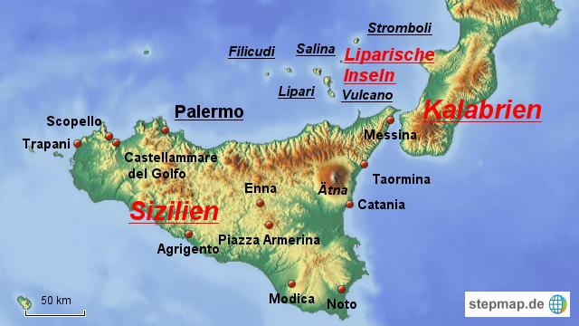 Stepmap Sizilien Und Liparische Inseln Landkarte Fur Italien