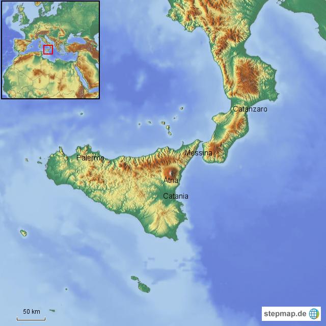 Sizilien Karte ätna.Stepmap Sizilien Und ätna Landkarte Für Italien