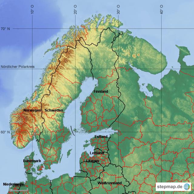 Stepmap Skandinavien Länder Landkarte Für Deutschland