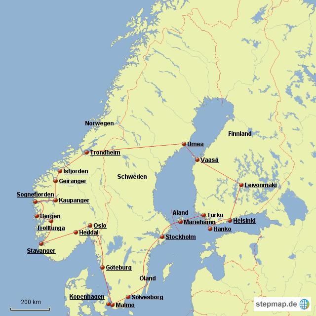 Karte Skandinavien.Stepmap Skandinavien Roadtrip Karte Landkarte Für Schweden