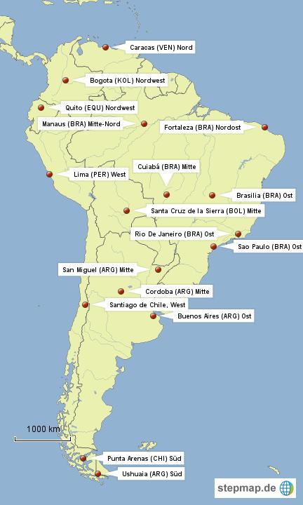 StepMap - South American Airports - Landkarte für Südamerika