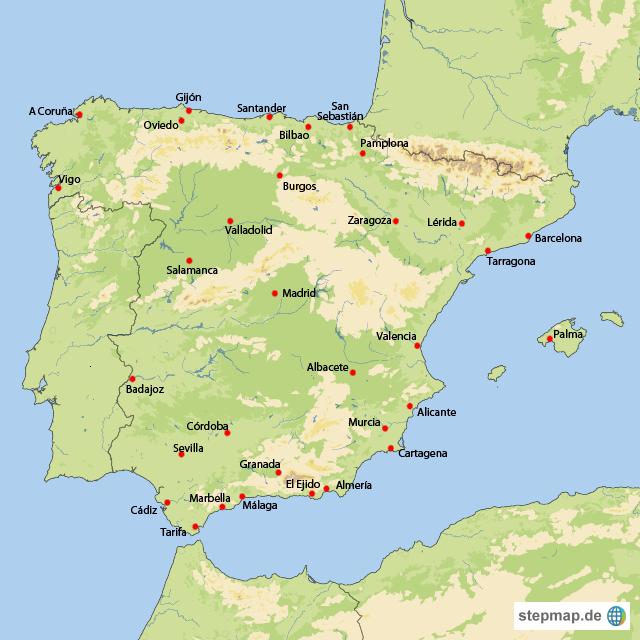 Karte Von Spanien Festland.Stepmap Spanien Landkarte Fur Spanien