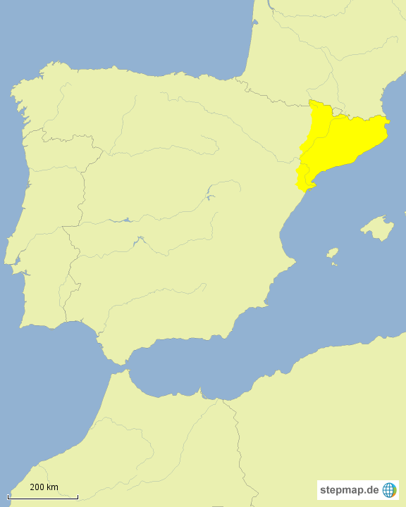 Spanien Katalonien Karte.Stepmap Spanien Katalonien Landkarte Fur Europa