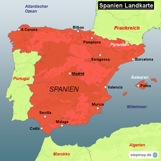 spanien weltkarte StepMap   Spanien Landkarte   Landkarte für Spanien spanien weltkarte