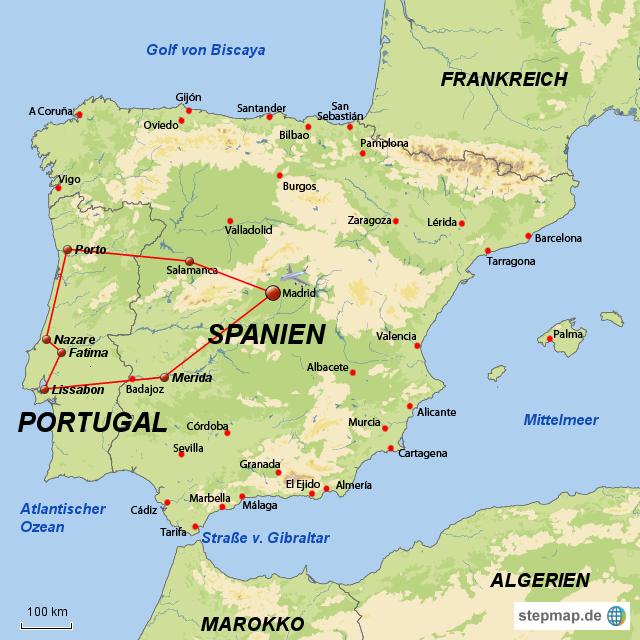 karte portugal spanien StepMap   Spanien & Portugal   Landkarte für Spanien karte portugal spanien