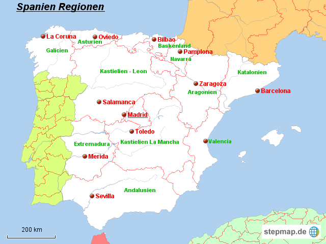 Spanien Regionen Karte.Stepmap Spanien Regionen Landkarte Für Spanien