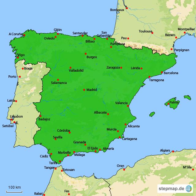 Stepmap Spanien Stadte Landkarte Fur Spanien