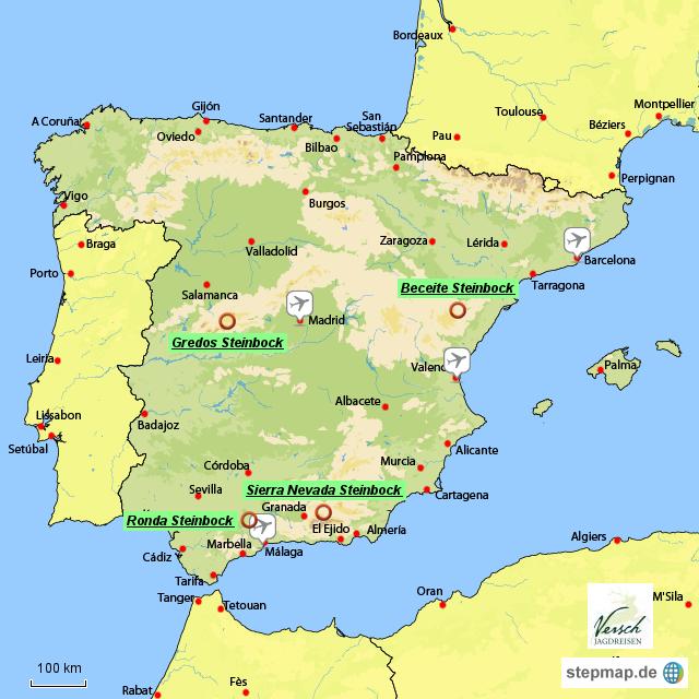 Landkarte Deutsch.Stepmap Spanien Versch Deutsch Landkarte Fur Spanien