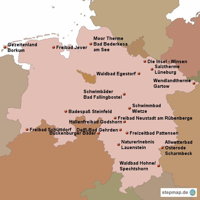 spaßbäder deutschland karte StepMap   Spaßbäder in Niedersachsen   Landkarte für Deutschland