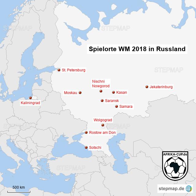 Wm 2018 Spielorte Karte.Stepmap Spielorte Wm 2018 Afrika Cup De Landkarte Für Russland
