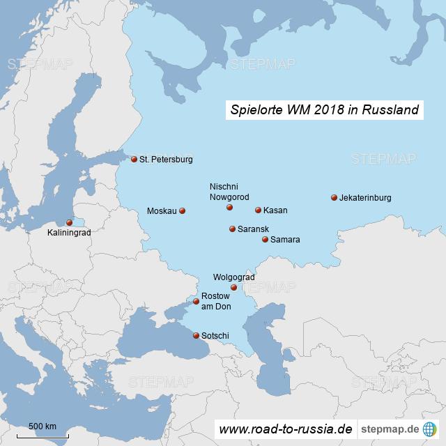 wm spielorte karte StepMap   Spielorte WM 2018 Russland   Landkarte für Russland