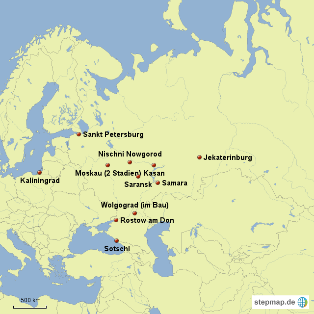 wm spielorte karte StepMap   Spielorte der WM 2018 in Russland   Landkarte für Russland