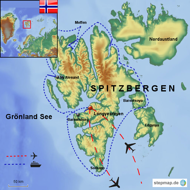 spitzbergen karte StepMap   Spitzbergen   Landkarte für Norwegen