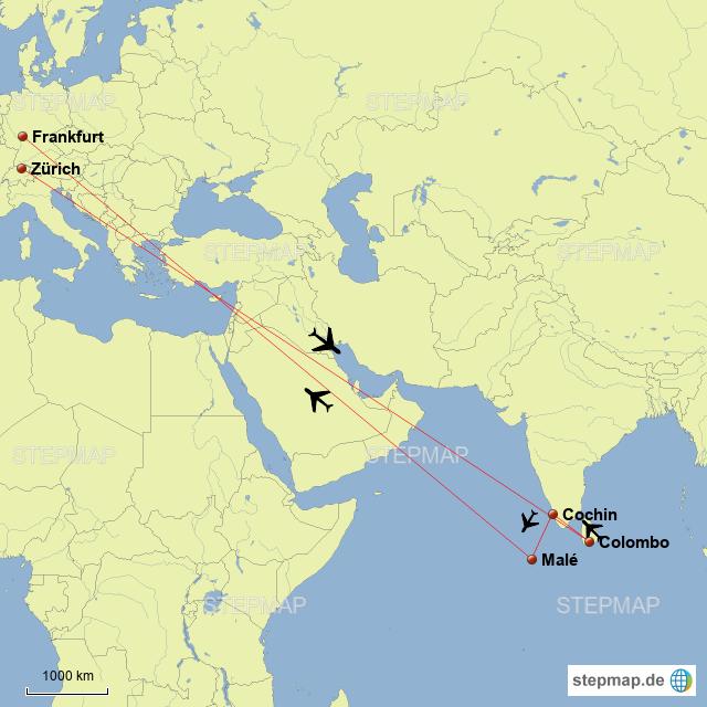 Malediven Karte Weltkarte.Stepmap Sri Lanka Indien Malediven 2017 Landkarte Für Deutschland