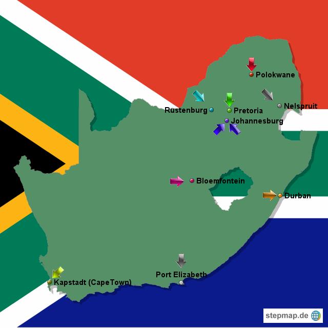 Stepmap Stadienstädte Und Spielpläne Der Wm 2010 In Südafrika