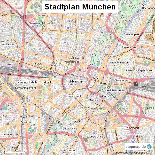 stadtplan m nchen von stadtplan landkarte f r deutschland. Black Bedroom Furniture Sets. Home Design Ideas
