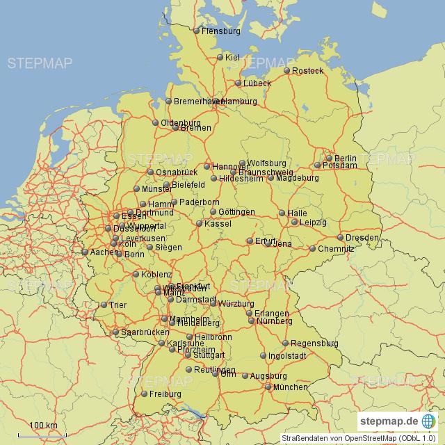 Deutschland Karte Autobahnen Und Städte.Stepmap Städte Autobahnen Deutschland Landkarte Für Deutschland