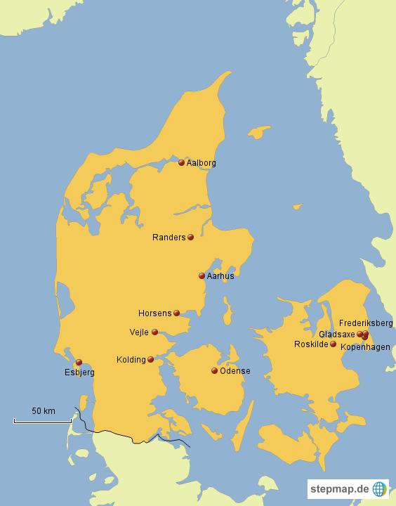 dänemark städte karte StepMap   Städte Dänemarks   Landkarte für Dänemark
