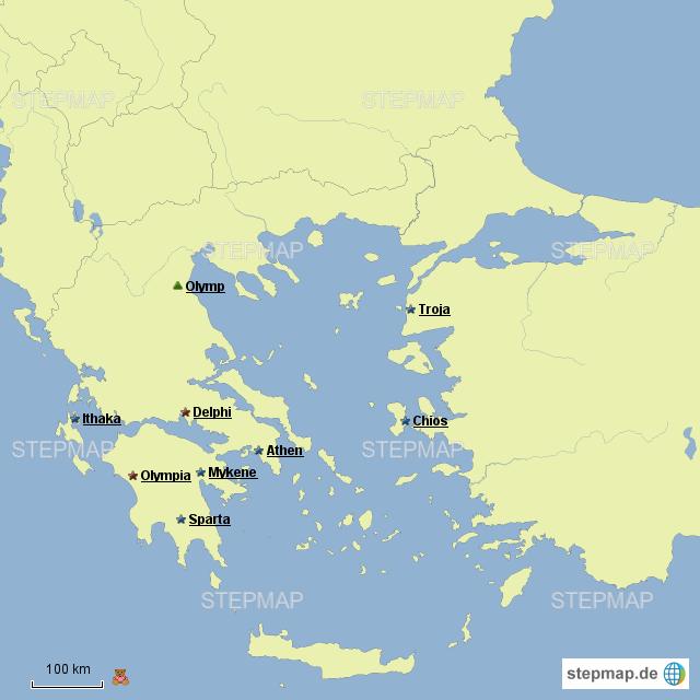 karte antikes griechenland StepMap   Städte im Antiken Griechenland   Landkarte für Griechenland