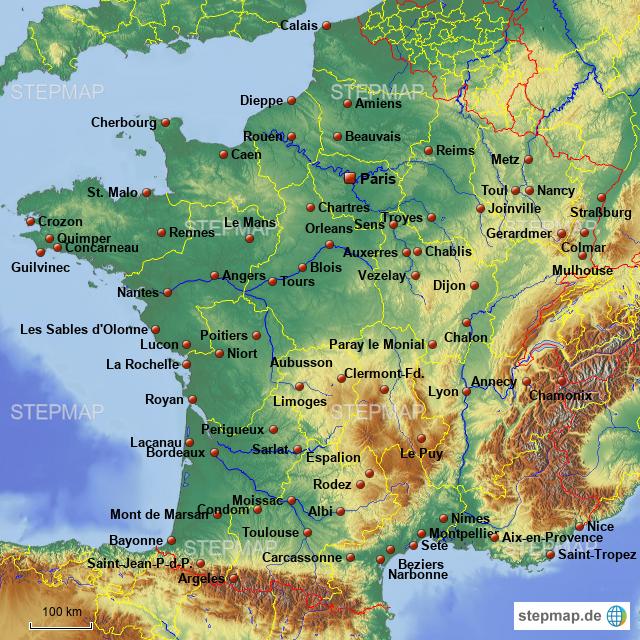 Frankreich Karte Stadte.Stepmap Stadte In Frankreich Landkarte Fur Deutschland