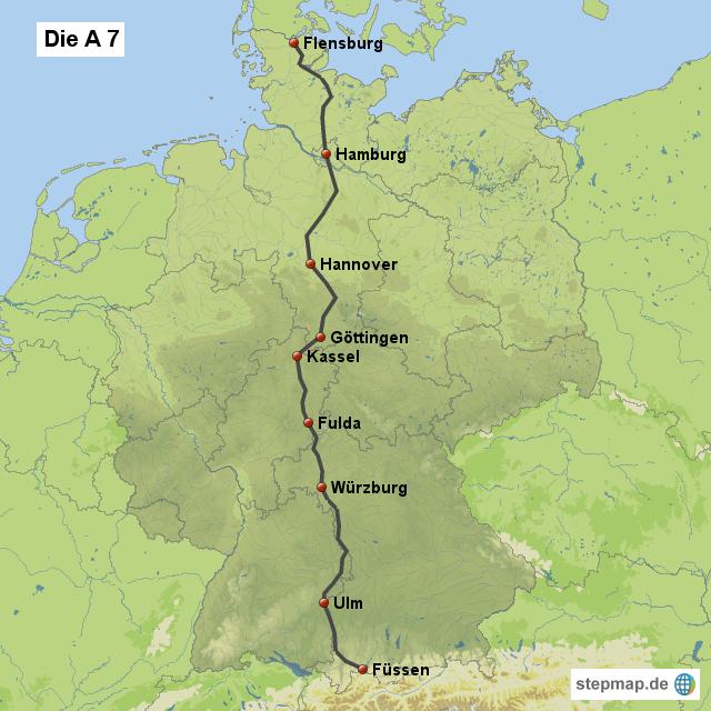 autobahnraststätten a7 karte StepMap   Städte und Hotels an der A7   Landkarte für Deutschland autobahnraststätten a7 karte