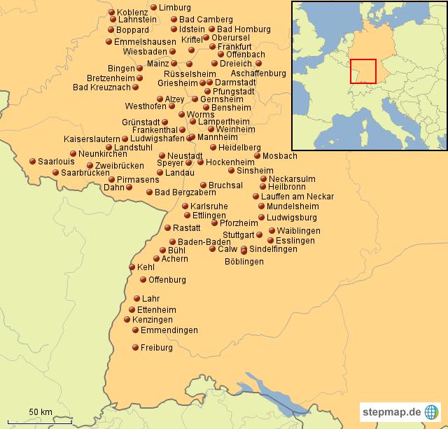 Karte Koblenz.Stepmap Städtekarte Von Koblenz Bis Freiburg Landkarte Für