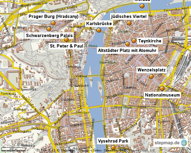 Prag Karte Sehenswurdigkeiten.Stepmap Stadtereise Prag 2012 Landkarte Fur Welt