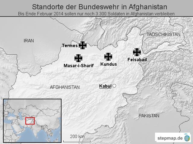stepmap standorte der bundeswehr in afghanistan landkarte f r afghanistan. Black Bedroom Furniture Sets. Home Design Ideas