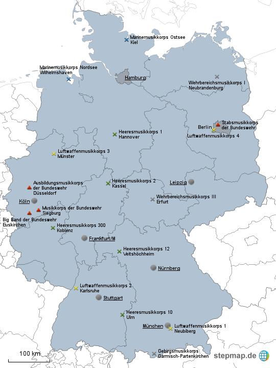 stationierung der musikkorps der bundeswehr von kupeke landkarte f r deutschland. Black Bedroom Furniture Sets. Home Design Ideas