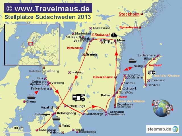 Karte Schweden Zum Ausdrucken.Stepmap Stellplatze Sudschweden Landkarte Fur Schweden