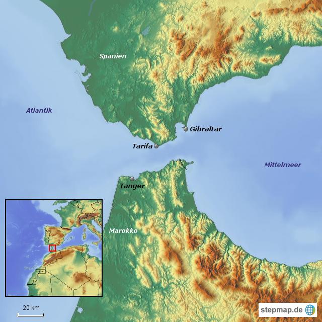 Meerenge Von Gibraltar Karte.Stepmap Strasse Von Gibraltar Landkarte Fur Spanien