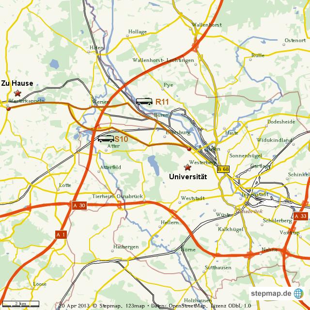 Stepmap Studium In Osnabrück Landkarte Für Welt