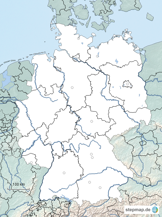 stepmap stumme deutschlandkarte mit bundesl ndern und fl ssen landkarte f r deutschland. Black Bedroom Furniture Sets. Home Design Ideas